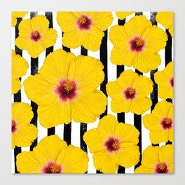 Summer Hibiscus Fun on Black & White Stripes Canvas Print