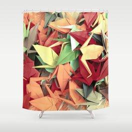Senbazuru | reds n greens Shower Curtain