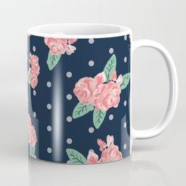 Brooklin - Navy dots floral bouquet minimal boho abstract flowers Coffee Mug