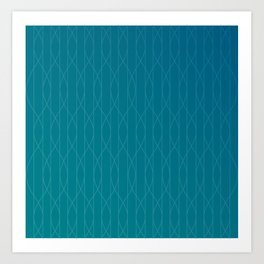 Wave pattern in teal Art Print