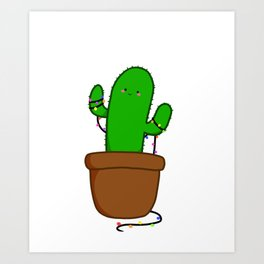 Christmas Cactus Illustration in a Pot with Christmas String Lights Art Print