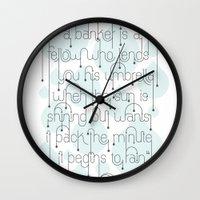 umbrella Wall Clocks featuring Umbrella by Jude Landry