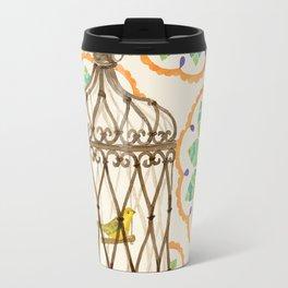 Bird in cage on Pattern by Sandy Thomson Travel Mug