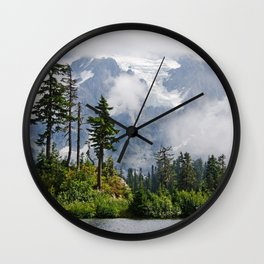 MOUNT SHUKSAN EMERGING THROUGH THE CLOUDS Wall Clock