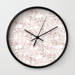 Rose Gold Leaves 2 Wall Clock