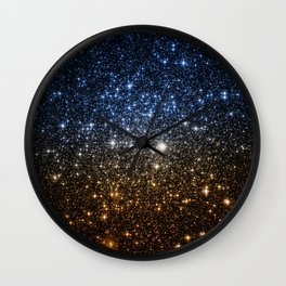 Galaxy Sparkle Stars Blue to Golden Bronze Ombre Wall Clock