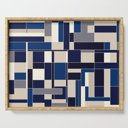 Blue abstract city Serving Tray