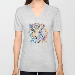 Tiger - Rainbow Tiger - Colorful Watercolor Painting Unisex V-Neck
