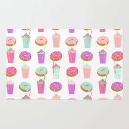 Coffee and Donuts pastel pink mint cute pattern gifts for valentines day love Rug