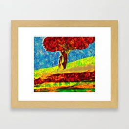 The tree on the hill Framed Art Print