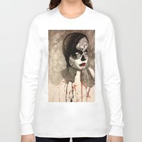 sugar skull Long Sleeve T-shirts featuring sugar skull  by Joedunnz