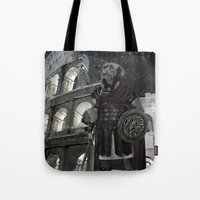gladiator Tote Bags featuring Neapolitan Mastiff Gladiator  by Barruf