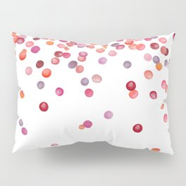 Cute Watercolor Pink, Orange, And Red Confetti Pillow Sham