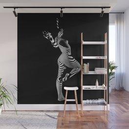 0443s-MM Black and White Zebra Striped Art Nude Figure on Black Wall Mural