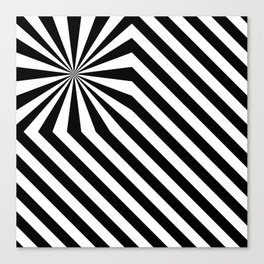 Stripes explosion - Black Canvas Print