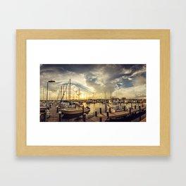 Summer Harbor Sunset Framed Art Print