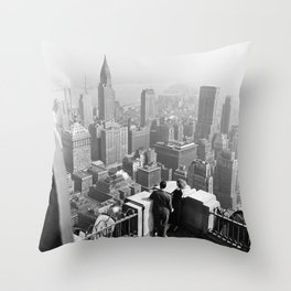 Rooftop view of Manhattan and NYC skyscraper skyline circa 1948 black and white photograph Throw Pillow