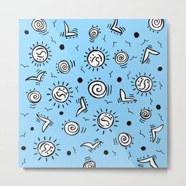 Doodle Drawing Seagulls Shells Sun - Blue Background Metal Print