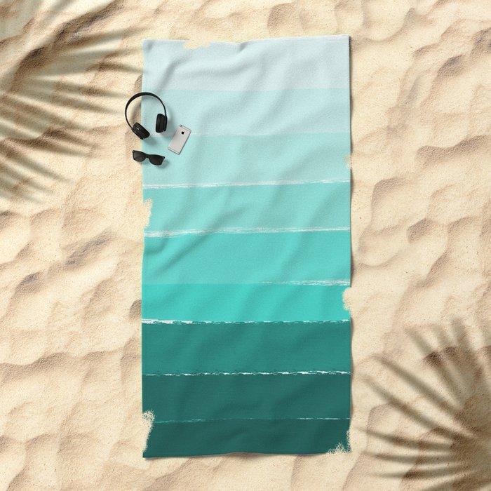 Ombre brushstrokes modern minimal ocean abstract painting wall art Beach Towel