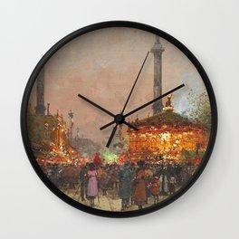 Paris La foire du Trône à la place de la Nation by Eugene Galien Laloue Wall Clock