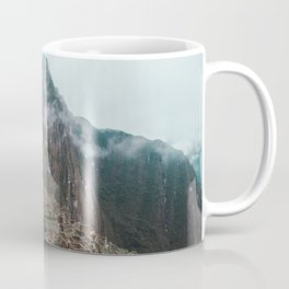 Ancient Inca ruins of Machu Picchu and surrounding Andes mountains in the early morning, Peru Coffee Mug