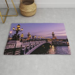 Sunset over Paris Bridge (Color) Rug