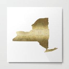 new york gold foil state map print niece ny state Metal Print