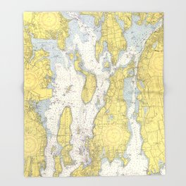 Vintage Map of The Narragansett Bay (1852) Throw Blanket