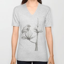 Bird and magnolia Unisex V-Neck