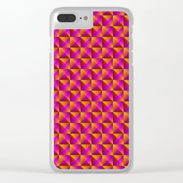 Tiled pattern of dark pink rhombuses and orange triangles in a zigzag and pyramid. Clear iPhone Case