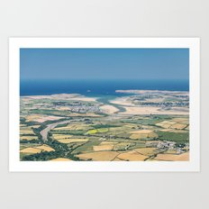 Aerial Views over North Cornwall - Padstow and Rock Art Print