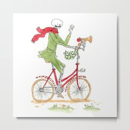 Skeleton with a red scarf riding a bicycle waving Metal Print