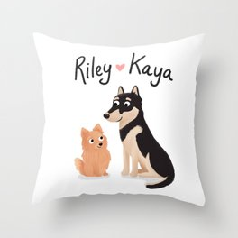 "Custom Dog Artwork, ""Riley and Kaya"" Throw Pillow"