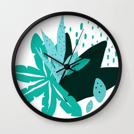 Modern Tropical Flowers & Leaves Graphic Designs Wall Clock