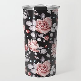 Vintage Pink Rose Flowers Travel Mug