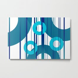 Three big and small Turquoise Rings with Stripes Metal Print