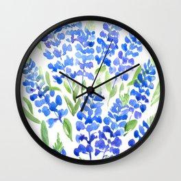 Watercolor Texas bluebonnets Wall Clock