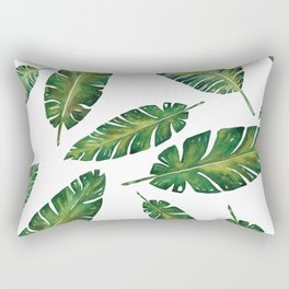 Decorative Watercolor Tropical Leaves Pattern Rectangular Pillow