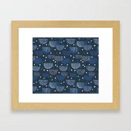 Botanical Block Print M+M Navy by Friztin Framed Art Print