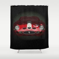 ferrari Shower Curtains featuring Ferrari 250 GTO by SEVENTRAPS