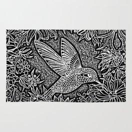 Hummingbird In Flowery Wreath Linocut Rug