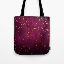 Fuchsia Gold Stars Tote Bag
