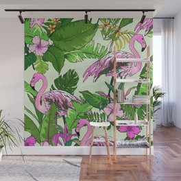 Pink Flamingoes and Tropical Flowers Print Wall Mural