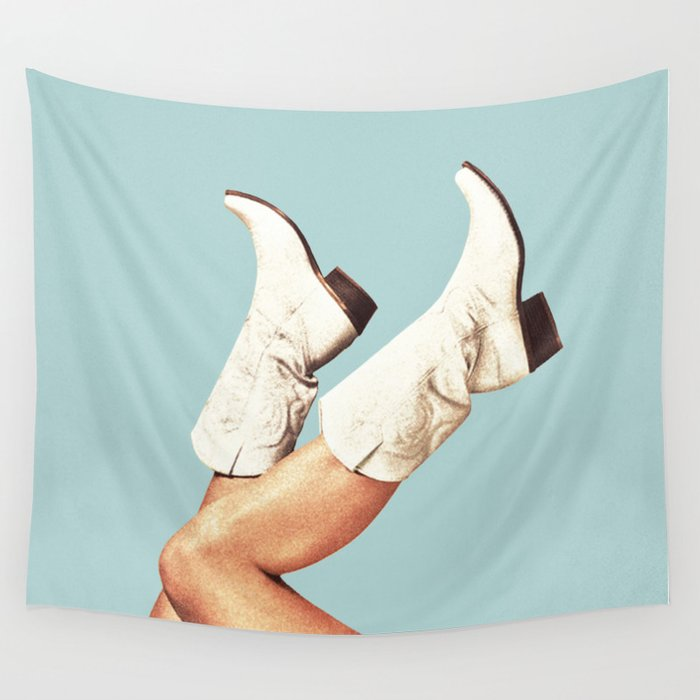 These Boots - Blue Wall Tapestry