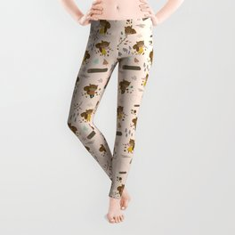 Mr and Mrs Squirrel Apricot Background Leggings