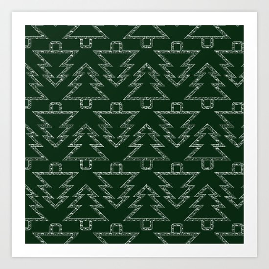 Merry Christmas- Abstract christmas tree pattern on festive green Art Print