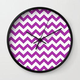Chevron (Purple & White Pattern) Wall Clock