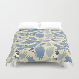 Chickadees  in Blue Duvet Cover