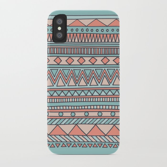 Tribal #4 (Coral/Aqua) iPhone Case
