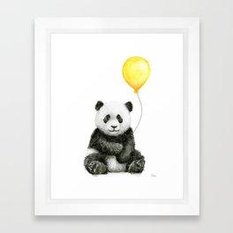 Panda Watercolor Animal with Yellow Balloon Nursery Baby Animals Framed Art Print